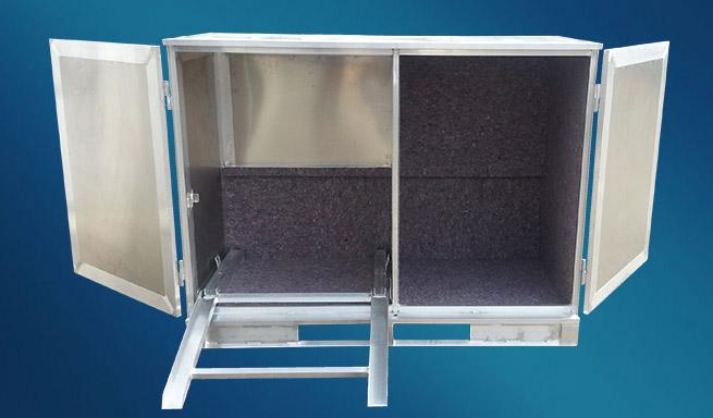 Aluminium-Container mit Trennwand offen von Hercher Metallbau