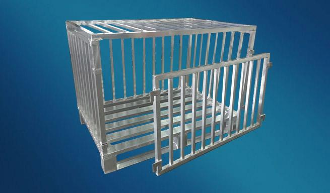 Aluminium-Gitterbox mit Deckel und aushängbarer Vorderwand von Hercher Metallbau