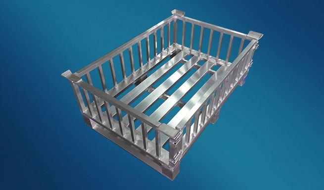Aluminium-Gitterbox mit aushängbarer Vorderwand von Hercher Metallbau