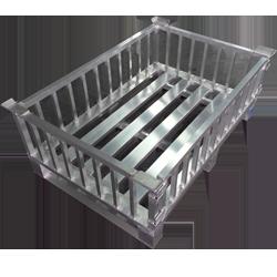 Aluminium-Gitterbox klein mit aushängbarer Vorderwand von Hercher Metallbau