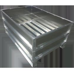 Aluminium-Sonderpalette mit abnehmbaren Aufsatzrahmen von Hercher Metallbau